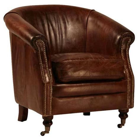 Leather Chair Sale - two distressed waxed brown leather barrel club chair on