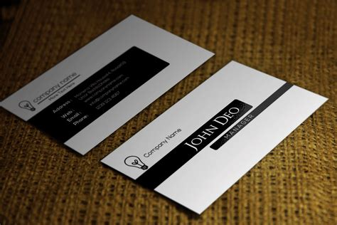 white template for business cards free black and white business card template