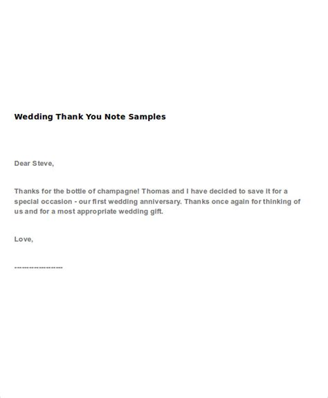 wedding   note examples samples
