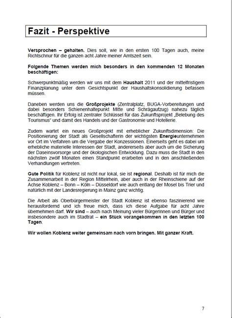 Wochenbericht Praktikum Vorlage Grundschule 08 08 2010 Die Ersten 100 Tage Des Koblenzer Ob Hofmann G 246 Ttig Ein St 252 Ck Voran