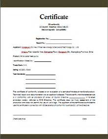 Letter Of Conformity Template by Conformity Certificate Template Microsoft Word Templates