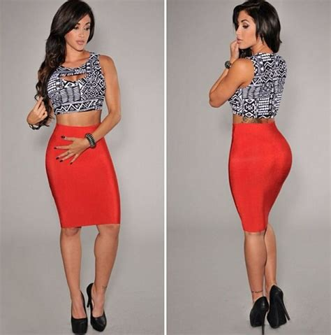 pencil skirt and crop top my style fashion