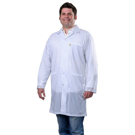 White Smock Jacket by Desco 73621 Statshield 174 Smock Lab Coat With Snaps