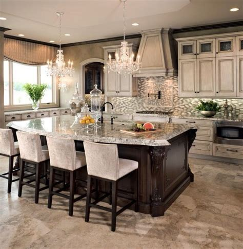 20 gorgeous kitchens with islands messagenote beautiful kitchen love the bar stools the chandeliers