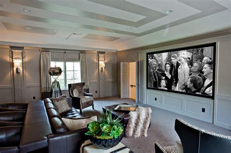 fort worth dream home transitional home theater