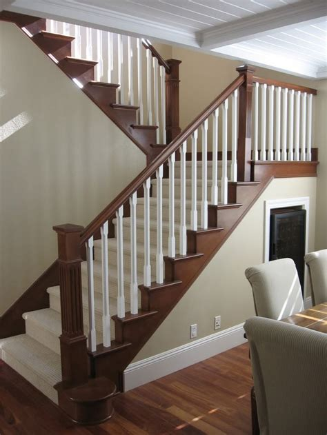 stair case maybe to update stair railing to complement mocha hardwood