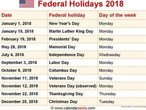 Calendar 2018 With Holidays List Federal Holidays 2018