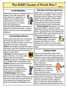 Was Nationalism The Cause Of Ww1 Essay by Pictures Wwi Worksheets Getadating