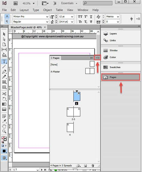 creating indesign master page how to create master pages in indesign dynamic web