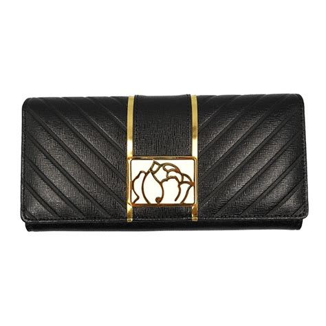braccialini wallet ginseng black genuine leather