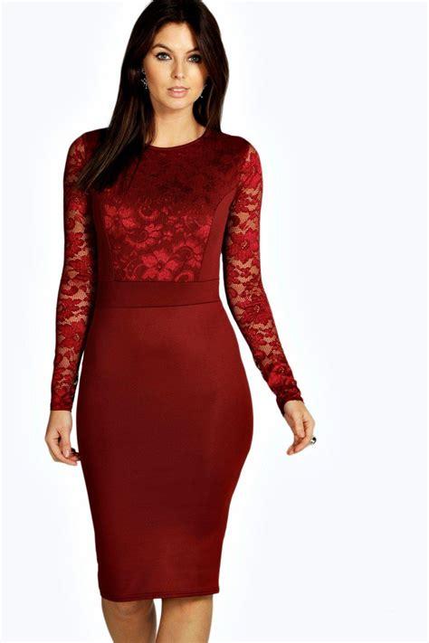 Lace Sleeve Midi Dress lace sleeve bodycon midi dress at boohoo