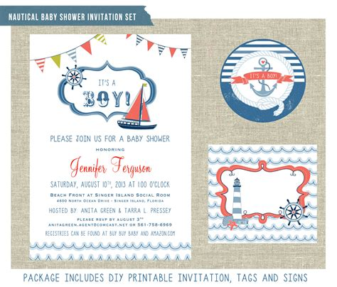 nautical themed baby shower invitation set by