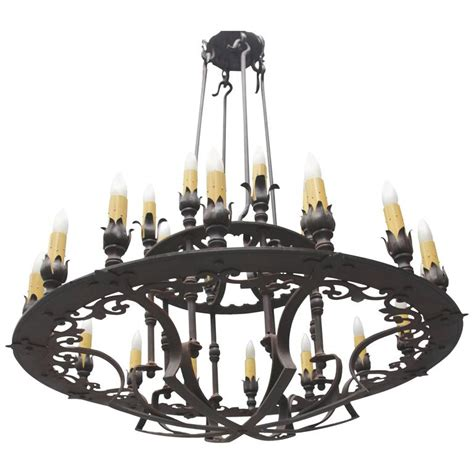 Custom Wrought Iron Chandeliers Custom Two Tiered Wrought Iron Chandelier For Sale At 1stdibs