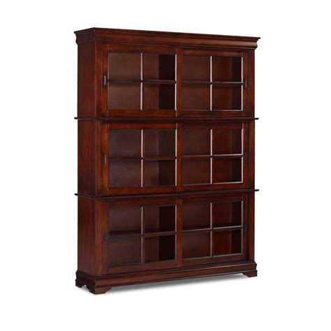 Cherry Bookcase With Glass Doors Bookcases For Sale At Hayneedle