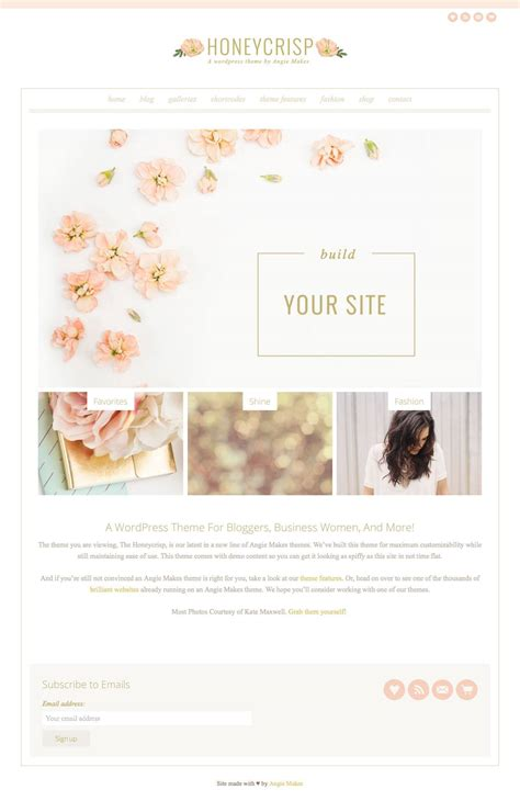 free wordpress themes girly honeycrisp pretty girly blog wordpress theme wpexplorer