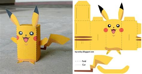 Pikachu Papercraft Template - papertoy pikachu toys favor boxes and paper