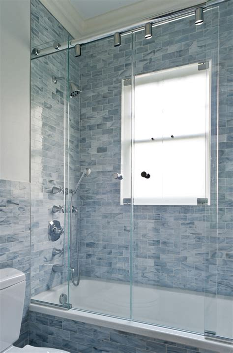 shower door ideas Bathroom Contemporary with ceiling lighting dark floor beeyoutifullife.com
