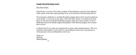 Invitation Letter Format For Program Church Invitation Letter Business Letter Exles