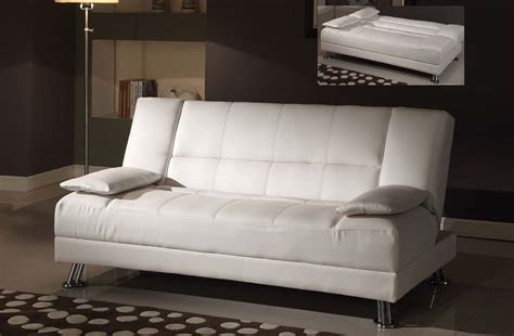 White Futon fae white bycast leather adjustable futon sofa bed