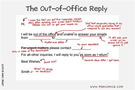 Stepping Out Of The Office But I Will Return by Phd Comics The Out Of Office Reply Higher Education