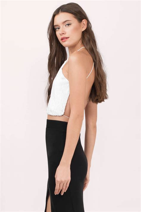 Tops Club by Cheap White Crop Top White Top Open Back Top 9 00