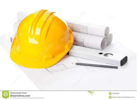 helmet house yellow helmet on house project construction plan royalty free stock images image