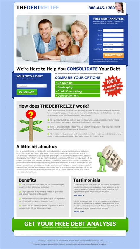 converting debt relief landing pages for your business sales