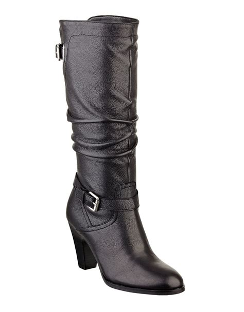 guess magy leather highshaft boots in black lyst