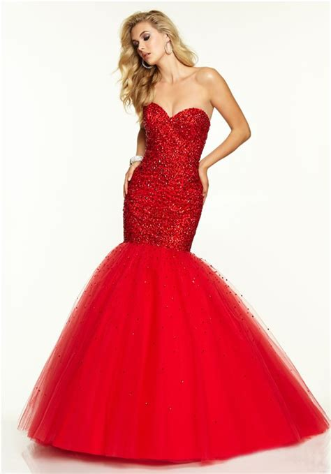 flare mermaid sweetheart tulle beaded prom dress