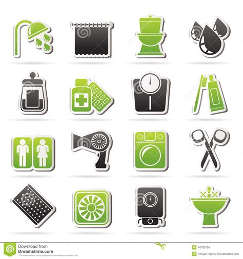 Toilet With Faucet Bathroom And Personal Care Icons Stock Vector Image