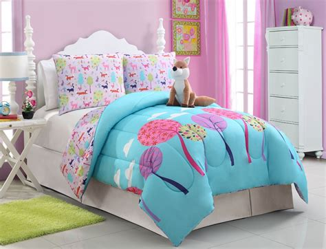 girls kids bedding foxy lady comforter set bed in a bag