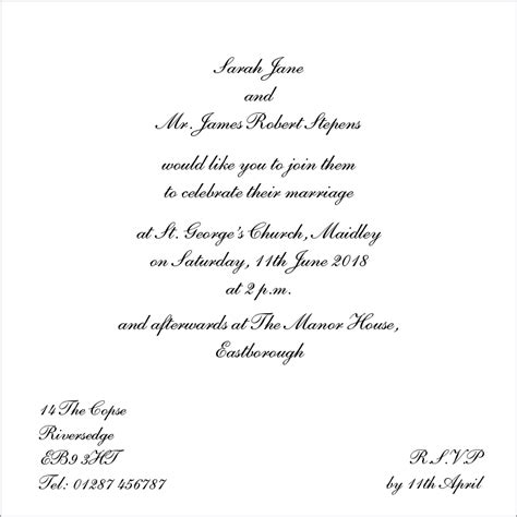 Wedding Invitation Wording Template wedding evening invitation wording template best template collection