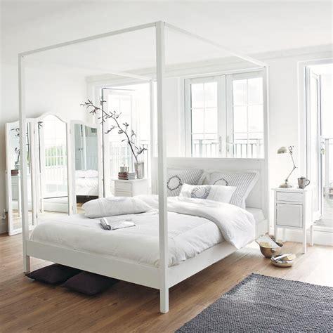 letto a baldacchino bianco letto a baldacchino 160 x 200 bianco sporco in pino