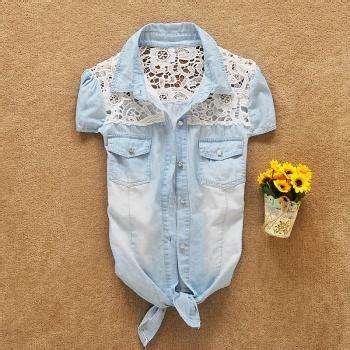 Flower Embroidered Denim Shirt Sm 16558 organza flowers embroidered sleeveless dress jgf on luulla