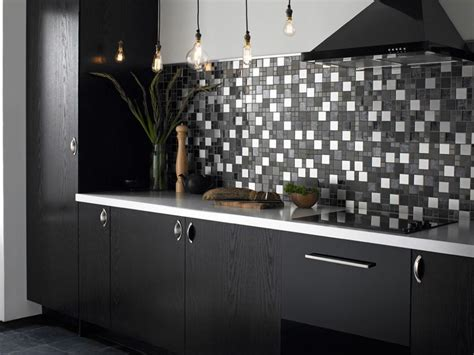 Blue Glass Kitchen Backsplash by Kitchen Deluxe Modern Black And White Scandinavian