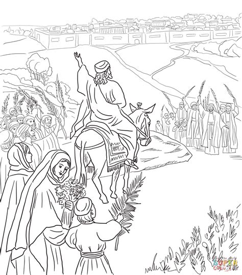 triumphal entry into jerusalem coloring page free