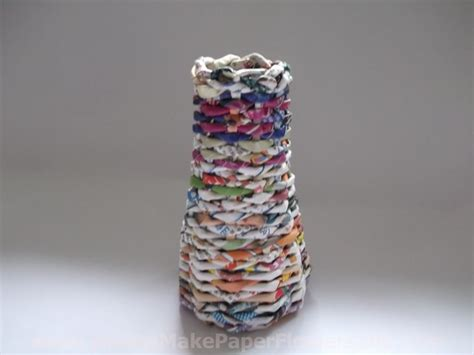 How To Make Recycled Paper Flowers - how to make a paper vase with recycled magazine paper
