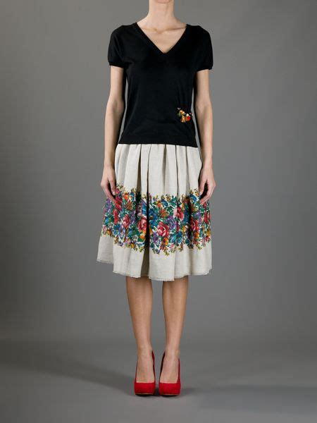 Dg Dolce And Gabbana Sandie Linen And Patent Tote by Dolce Gabbana Linen Skirt In Floral Lyst
