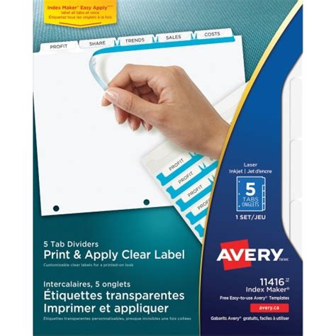 Avery Easy Apply 5 Tab Template by Avery Index Maker Clear Label Divider With Tabs Ave11416