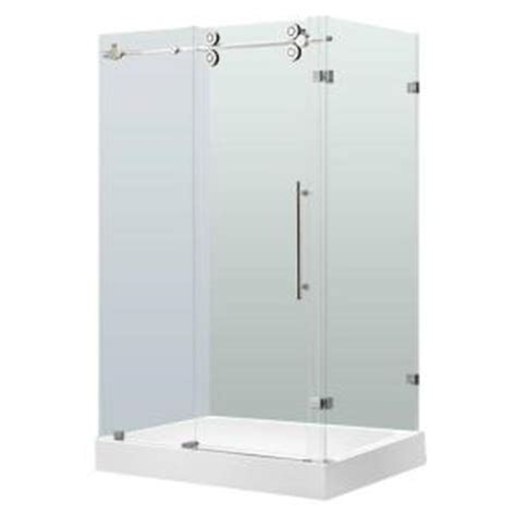 vigo 36 in x 79 in frameless bypass shower enclosure in
