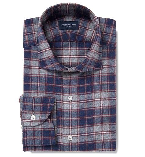 Kemeja Flanel Tartan Navy Grey whistler navy grey and crimson plaid flannel custom made shirt by proper cloth