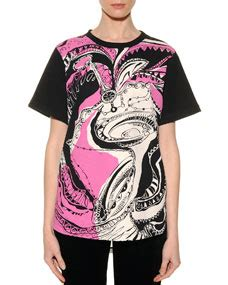 Emilio Pucci Roscone Print T Back Top It Or It by Emilio Pucci Libra Graphic Print Sheer Back T Shirt