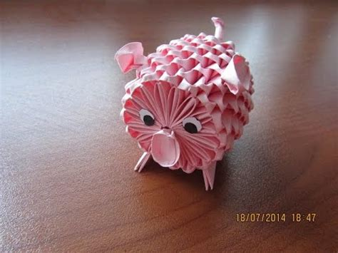 origami 3d pig tutorial 3d origami piggy tutorial youtube