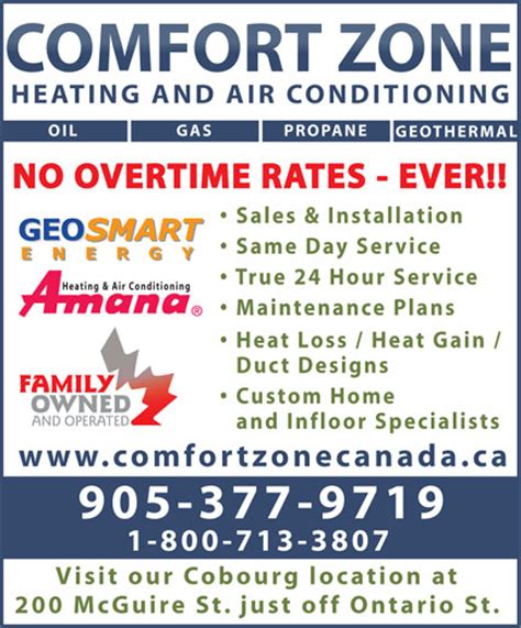 comfort heat and air comfort zone heating air conditioning cobourg on