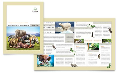 publisher book template nature wildlife conservation brochure template word