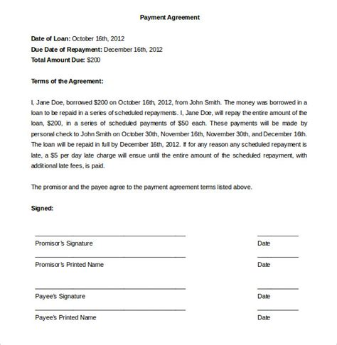Simple Payment Agreement Template by Payment Plan Agreement Template 12 Free Word Pdf