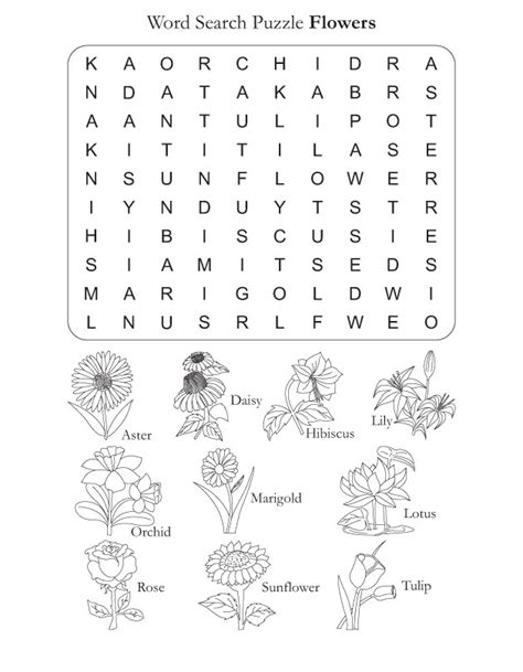 Free Best Search Word Search Puzzle Flowers Free Word Search Puzzle Flowers For Best