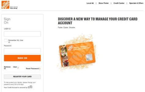 Home Depot Login Page by Www Homedepot Home Depot Credit Card Login To Manage