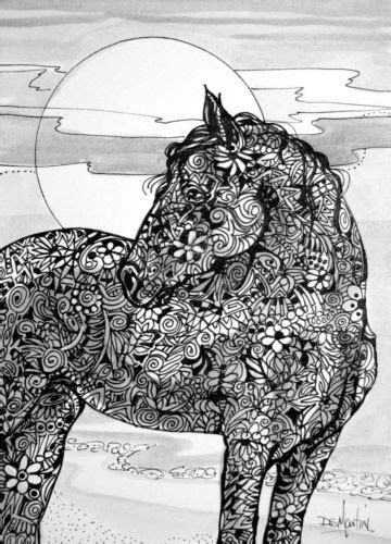 pattern horse drawing horse of course original ink drawing paper 5x7 zentangle