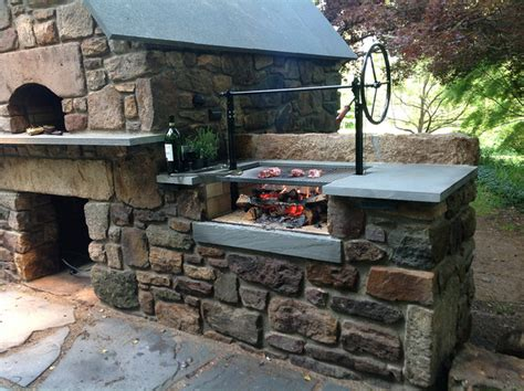 Solebury Wood Burning Brick Oven And Argentinian Wood Grill Backyard Brick Grill